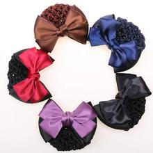 1PC Stylish Solid Color Satin Bow Barrette Lady Hair Clip Headwear Cover Bowknot Bun Snood Women Hair Accessories
