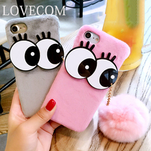 Luxury Fashion Soft Plush Rabbit fur Fluffy ball Fuzzy Eyes Phone Case For iPhone 6 6S Plus Hard Phone Back Cover