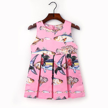 2-7Y Fashion Children Fish Printed Dresses Kids Clothes Funny Pattern Princess Dress Baby Girls O-neck Sleeveless Clothing L1024