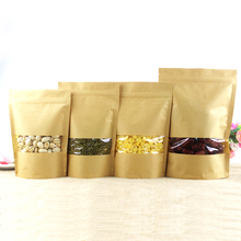 Zip lock Kraft Paper Window Bag Stand up Gift dried food fruit tea packaging Pouches Zipper Sel Sealing Bags Free Shipping