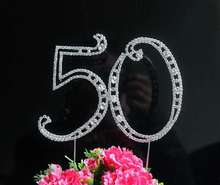 "1pcs Large Diamante Rhinestone Letter ""50"" Cake Toppers For Wedding Birthday Party Decoration Customized Number Available"