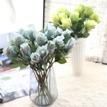 Artificial Flower 6 pc/lot Rose Artificial Bouquet Real Touch Flowers For Home Wedding Xmas Decoration Fake Flowers Wreaths EY11(China)