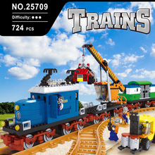 724 pcs 25709 model Train Series Building Bricks Train Freight Station Building Blocks Construction Set with dollsCompatible