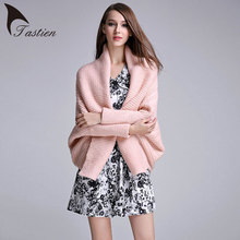 TASTIEN Brand Women Sweater Fashion Wrap Swing Batwing Sleeve High Quality Elegant White Pink Black Winter Sweater Knitwear 2018(China)