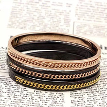 Vintage Jewelry Black Gun IP Vacuum Plating Titanium Stainless Steel Love Bracelets & Bangles For Women Gifts With Link Chain(China)