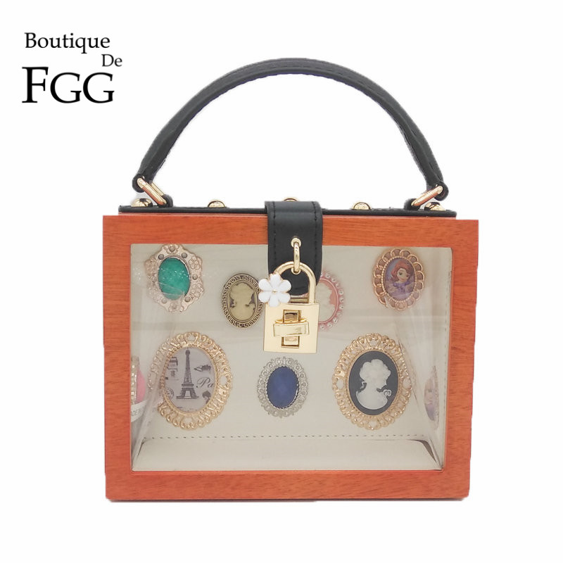 Fashion Showcase Clear Wooden Women Totes Bag Shoulder Handbags Ladies Wood Shopwindow Casual Crossbody Evening Party Box Clutch<br>