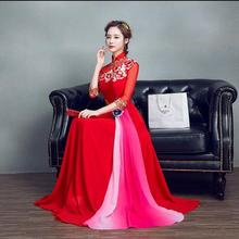 2017 New Spring Red oriental dress High Quality Red cheongsam dress Woman Evening dress(China)