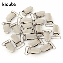 Kicute 20Pcs Newest Mini Paper Clips 14mm Alloy Suspender Clips Silver Webbing Hook Strap Brace Home Office School Supply(China)