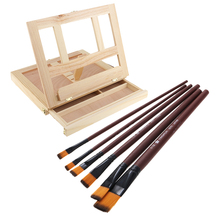 Painting Easel Adjustable Wood Drawing Table Box Easel with Drawer and 6pcs Brushes