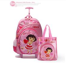 Dora  Children Trolley School Bags kids Trolley Bag For School Girl's Travel Luggage Bag with Wheels School Backpack For Girls
