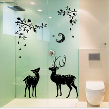 ZOOYOO cute moon Sika deer tree merry christmas Window bathroom sticker PVC door glass closet Decals Wall Stickers Home Decor