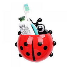 Creative Ladybug Toothbrush Holder With Sucker Strong Colorful Beetle Children's Shelving Storage Rack Animal Toothbrush Rack