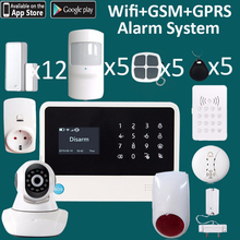 Wireless&4 wired zones gsm+wifi alarm system and smart home system 360 degree full protect your house(China)