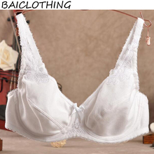 BAICLOTHING Comfortable Women's 3/4 Cup Non-padded Underwire 100% Cotton Big Size Bra Womens Lingerie 38 40 42 44 B C D E