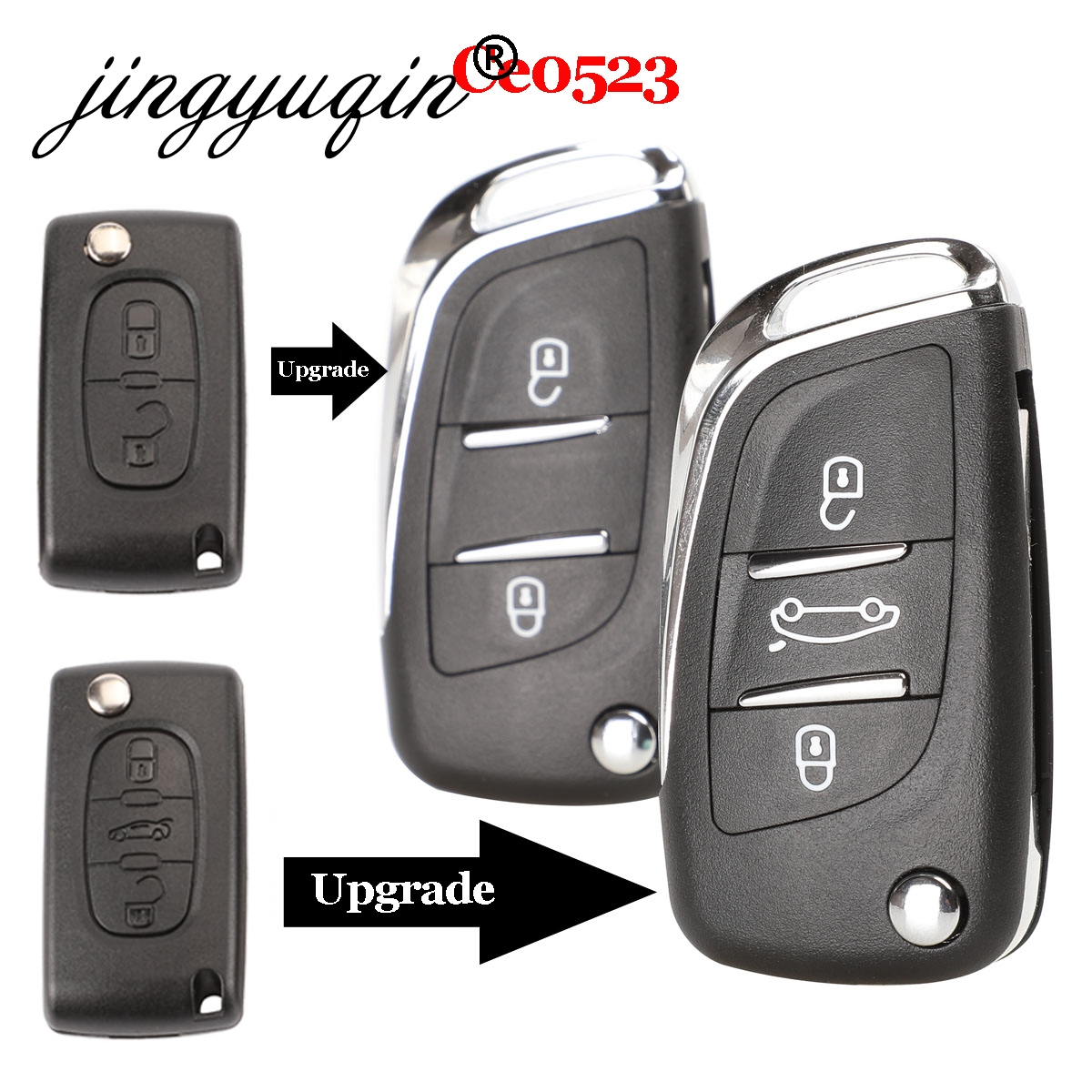 jingyuqin CE0523 Modified Flip Folding Key Shell For Peugeot 306 407 807 Partner Remote VA2/HU83 Blade Entry Fob Case 2/3 Button(China)