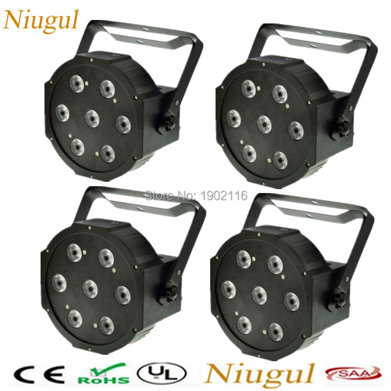 4pcs/lot High brightness led par quad 7x12w wash light american dj par RGBW 4in1 dmx led flat par light led lamp Stage Equipment<br>
