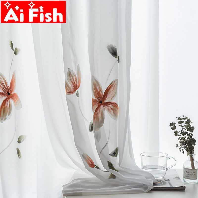 France painting Curtains For Living room Hand Painted noble curtains for kitchen bedroom tulle Voile Sheer Customized MY123#40