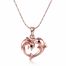 Double Dolphin Necklace Animal Pendant Rose gold colour Charm Chain Pendant Necklace With Colares Feminino Christmas Gift