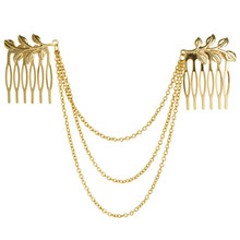 The New Women's Hair Ornaments Comb Golden Tassels Sleeves Headdress Coleus Chain Wedding Accessories Fine Jewelry Wholesale(China)