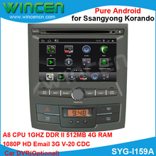 1080p HD Pure Android Car DVD player for Ssangyong Korando A8 chip1G CPU 512 DDR DSP sound-effects 7 parts digital EQ
