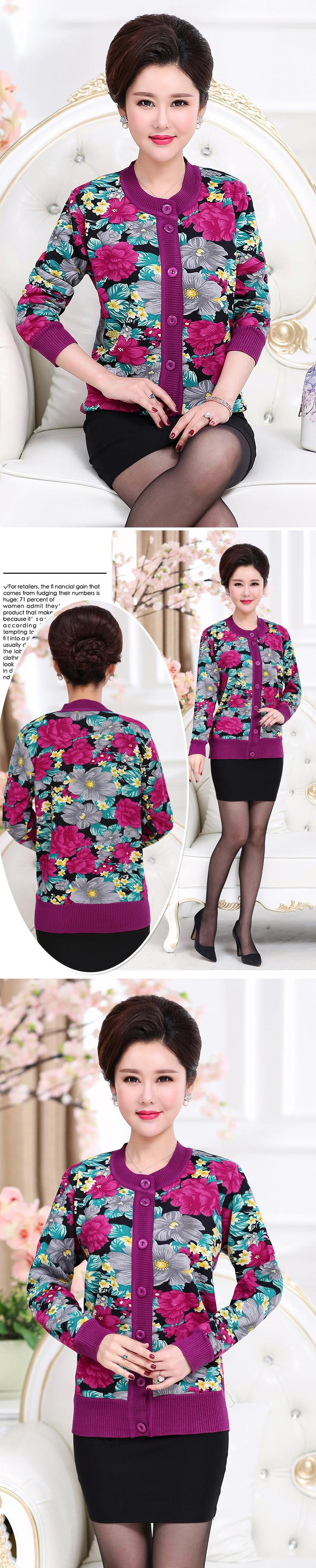 WAEOLSA Winter Woman Flower Cardigan Sweaters Middle Aged Women\`s Thicken Fleece Knitwear Lady Knied Cardigan Sweater Warm Top Mother (12)