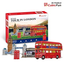 Candice guo DIY toy 3D paper puzzle assemble building model game C146h olympicl landscape tour in London bus baby gift 5pcs/set