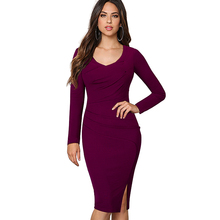 Women Elegant Side Slit Pinup Casual Formal Work Business Office Long Sleeves Fitted Bodycon Pencil Dress EB356