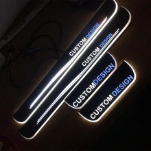 COOL !  custom made LED dynamic Illuminated  Slim Door Scuff Sill Plates Cover sticker for  Infiniti QX80  Red/Blue/White