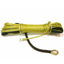 MAYITR 15m*6mm 7000lbs Synthetic Winch Rope Cable Line With Hook for ATV UTV Off-Road Yellow Towing Strap 1/4'' x 50'(China)