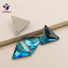 Blue Zircon 3270 Triangle 16mm 22mm Sewing Crystal Rhinestones Sew on Beads Stoens for Prom Dress