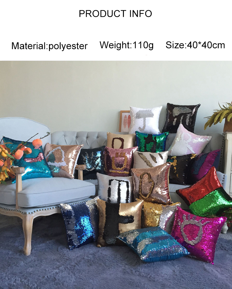 Pillowcase Decorative Mermaid Sequin Colorful Square Plain Knitted Hidden Zipper Pillow Home Car Sofa Cushion Cover 40*40cm 1