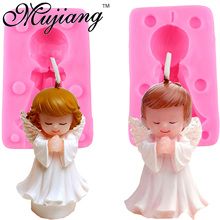 Mujiang Boy Girl Angel Silicone Candle Mold Resin Clay Soap Molds Baby Party Fondant Cake Decorating Tools Chocolate Candy Mould