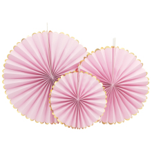 Nicro 3pcs/lot Gold foil side Pink Flower Paper Fan Tissue Crafts Decor Wedding Birthday Party Home Decor Supplie Paper Fan(China)
