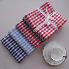 6pcs/lot Blue Red White Checkered Table Napkin Kitchen Towel Quality Cotton Placemat Baby Hand Towel