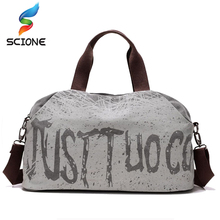 Canvas Letter Printing Handbags Outdoor Sports Gym Fitness Bag for Women Travel Duffel Tote Shopping Weekend Bag Shoulder Bags(China)