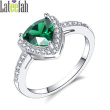 Lateefah New May Birthstone Ring with Triangle Royal Green Crystal Half Pave Cubic Zirconia Women Solitaire Ring Birthday Gift(China)