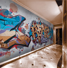 Large mural bar corridor background wall features Cafe street art graffiti 3D personality wallpaper wallpaper