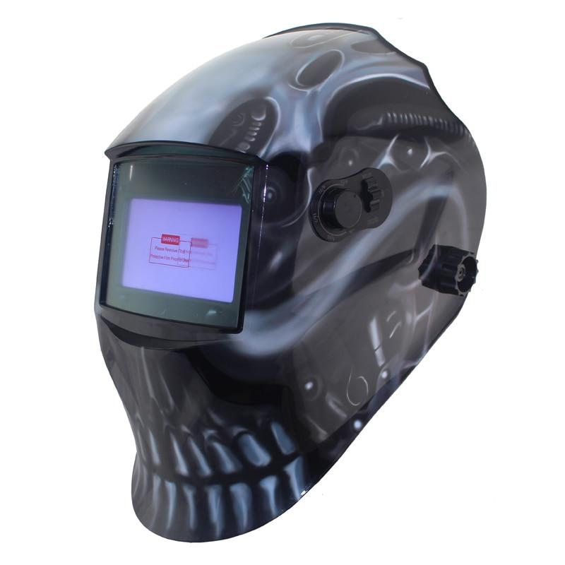 Welding tools Black skull Out control Big view area DIN5-DIN13 4 arc sensor Solar Auto darkening tig mma mig welding mask/helmet<br>