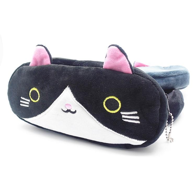 Plush Pencil Case School Supplies For Girls Stationery Office Cute Kawaii Cartoon Cat Pen Bag pouch kits Kids Gift Makeup bag (4)