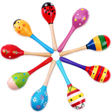 Baby Colorful Wooden Maracas Musical Instrument Rattles Shaker Sand Hammer Bell Fun Kids Toys for Children Party Favor Gift Game(China)