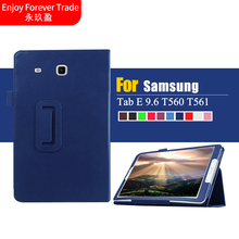 4 in 1 Fashion Top Quality PU Leather Leather Stand  for Samsung Galaxy Tab E 9.6 T560 T561 Tablet Case Cover Skin + film + pen