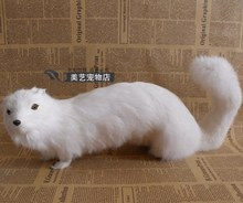 simulation white mink 30x10x14cm toy model polyethylene&furs mink model home decoration props ,model gift d138