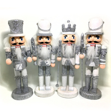 HT129 Free shipping Action & Toy 24CM Silver Christmas Nutcracker Puppet Combination Children Christmas Toys Gift(China)