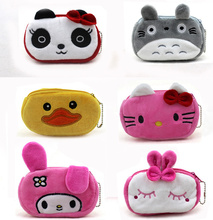 New 12CM approx. Cartoon Hello Kitty , TOTORO Etc. Plush Gift Coin Purse Wallet , Pocket Coin Pouch Case BAG(China)