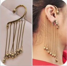 Min. order is $9 (can mix style) Fashion vintage double faced tassel skull ear hook earrings earring punk jewelry best price(China)