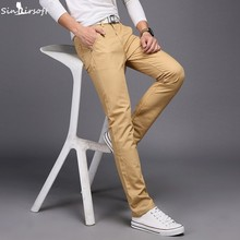 New Design Casual Men Pants Cotton Slim Pant Straight 바지 패션 Business Solid Khaki Black Pants Men Pantalon Homme 28 -38(China)