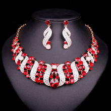 NEW Red Crystal Choker Necklace Earrings Bridal Indian Jewelry Sets Bride Gold Color jewellery Wedding Prom Accessories Women(China)