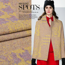 Soft and weaving large flower pattern pattern atmospheric soft waxy 100% wool fabric autumn and winter shawl coat fabric