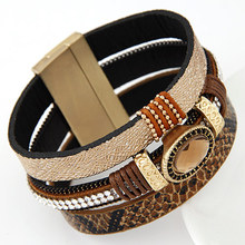 LEMOER 2017 Big Brand Fashion Gem Rhinestone Wide Magnetic Leather Bracelets Bangles for Women Men Wristband pulseras mujer