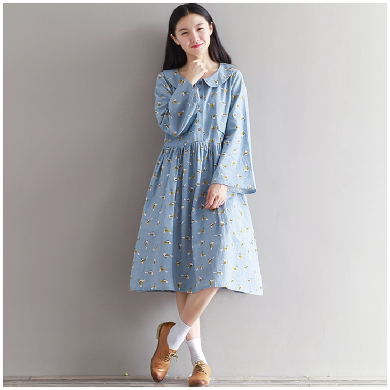 2017 Mori Girl Spring Autumn Women Dress Peter Pan Collar Flare Sleeve Casual Femininos Robe Peter Pan Collar Linen Dress M-2XL(China (Mainland))